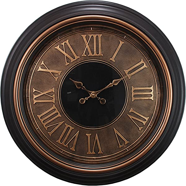 Kieragrace Oversized Wall Clock 23 Inch Antiqued Copper And Gold Trim With Raised Roman Numerals
