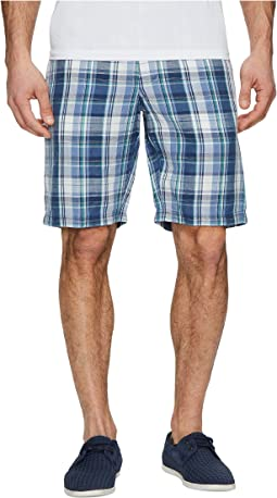 Coastal Dunes Plaid Linen Shorts