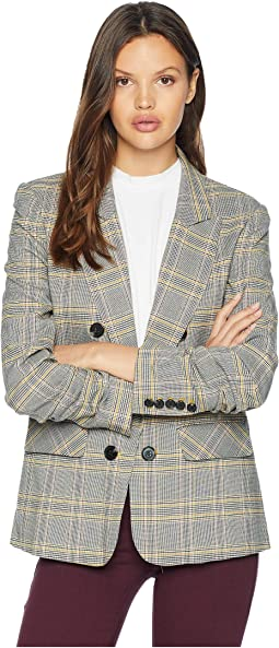 Ruched Sleeve Menswear Plaid Blazer