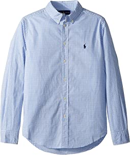Gingham Stretch Cotton Shirt (Big Kids)