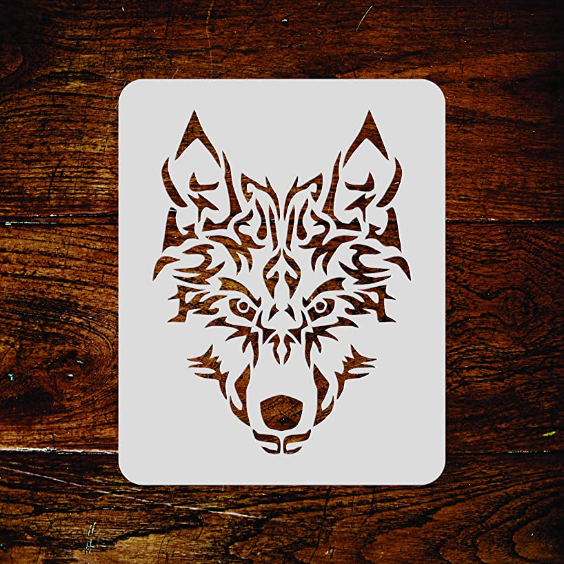 Wolf Stencil - 8.5 x 11 inch (L) - Reusable Animal Artic Wolf Head Wall Stencil Template - Use on Paper Projects Scrapbook Journal Walls Floors Fabric Furniture Glass Wood etc.