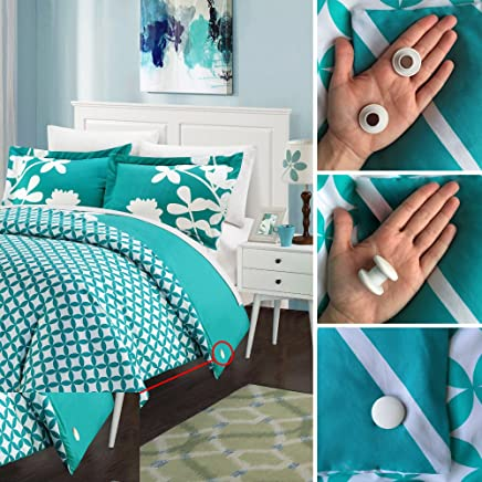 Duvet Dotz - Duvet/Comforter Strong Magnetic Fasteners (Comforter Grips/Duvet Cover Clips/Magnetic Duvet Clip/Duvet Donuts (1 Set or 4 - Enough for 1 Bed))