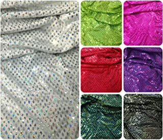 Shiny Diamond Faux Sequins & Glitter Waves on Stretch Lightweight Polyester Spandex Fabric by the Yard (Silver/White)