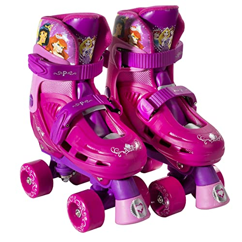 PlayWheels Disney Princess Classic Quad Roller Skates, Magenta, Junior Size 10-13