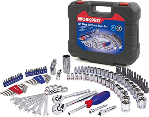 lowest WORKPRO Drive Socket Wrench Set, 101-piece Mechanics Tool Set, 3/8-inch new arrival & 1/4-inch Quick-Release Ratchets, 6-Point Sockets, Tool Sets for Mechanics, SAE and Metric new arrival Set, With Blow Molded Case sale