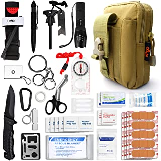 Kitgo Emergency Survival Gear and Medical First Aid Kit - IFAK Outdoor Adventure Camping Hiking Military Essential - Pro Compass, Fire Starter, Tourniquet, Flashlight and More