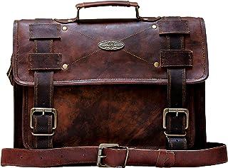 Laptop Bag Vintage Men Brown Leather Briefcase Messenger Bags (13