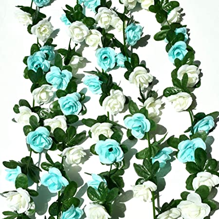 ONLY ART 5pcs 41FT Artificial Rose Garland Vine Hanging Rose for Decoration Wedding Party Birthday Gift (Blue&White)