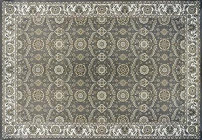 Gertmenian Traditional Rug Platinum High Density Persian Carpet, 8x10 Large, Abstract Gray Border