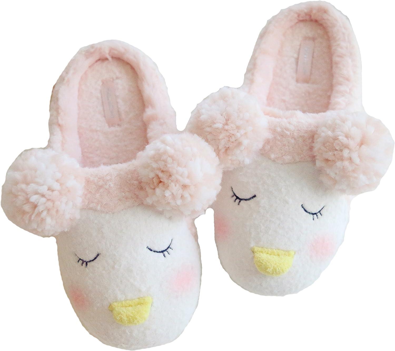 Elliz Women's Cozy Penguin with Earmuffs Indoor Memory Foam House Slippers
