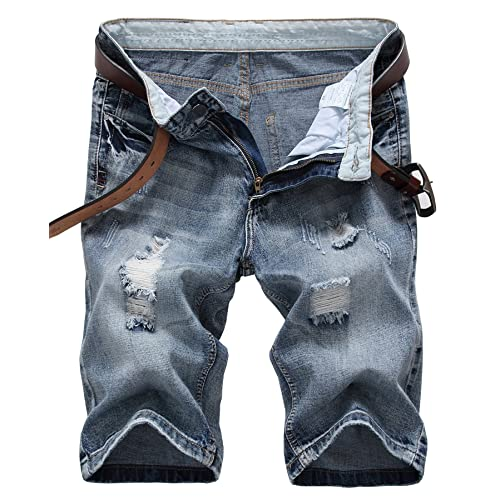 dfcdce09f6e IWOLLENCE Men's Fashion Ripped Distressed Straight Fit Denim Shorts with  Hole