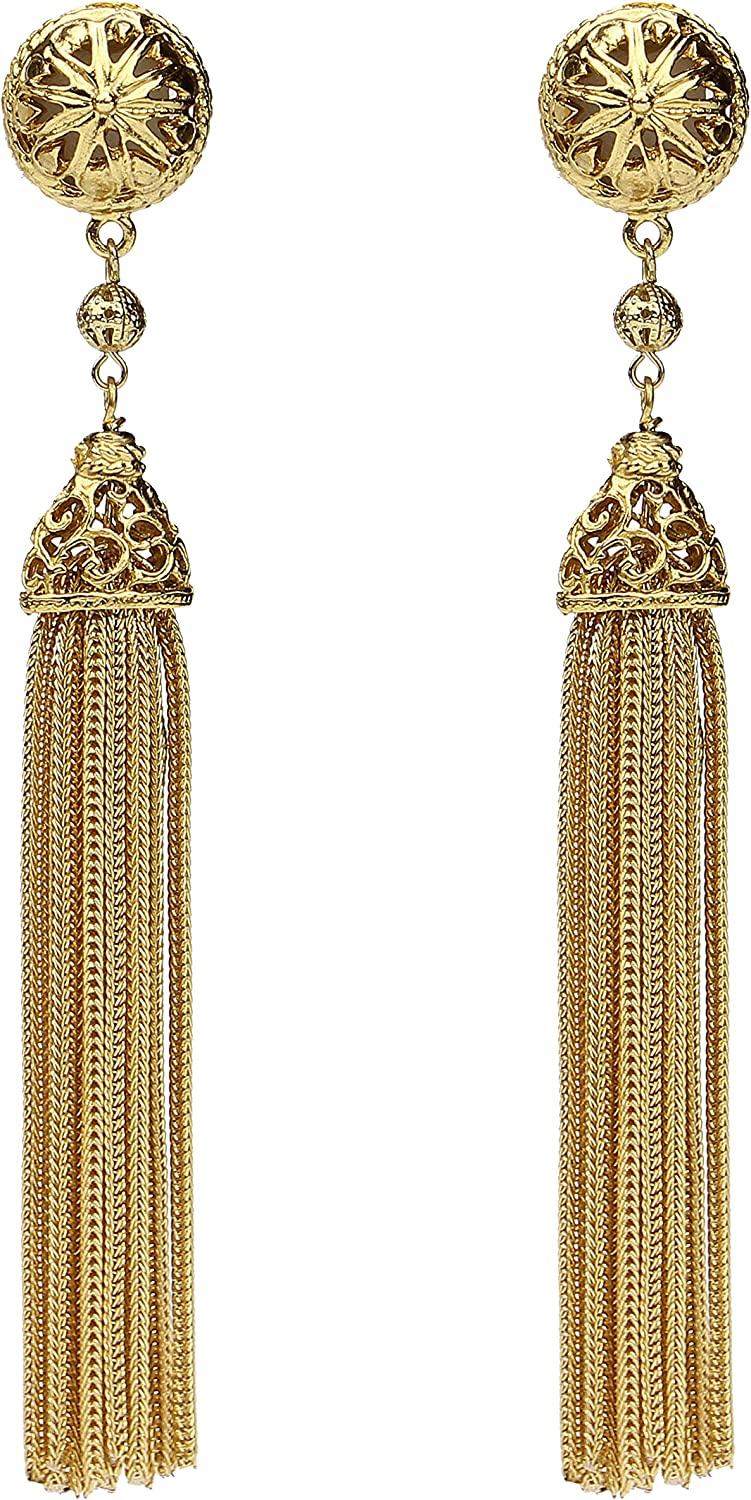 Ben-Amun Jewelry Gold Round with Tassel Drop Clip On Earrings