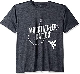 Top of the World West Virginia Mountaineers Men's Poly Space Dye Invader Tee, Large