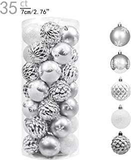 Valery Madelyn 35ct 70mm Frozen Winter Silver White Shatterproof Christmas Ball Ornaments Decoration,Themed with Tree Skirt(Not Included)
