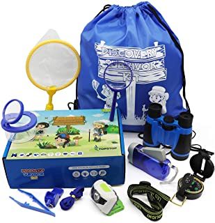 Kids Camping Gear & Outdoor Exploration Set, adventure toy & Explorer Kit for Boys, Girls Age 3 4 5 6 7 8 9 10 11 12 year old, Binoculars, Compass, Magnifying Glass, Flashlight, Headlamp in a Gift Box