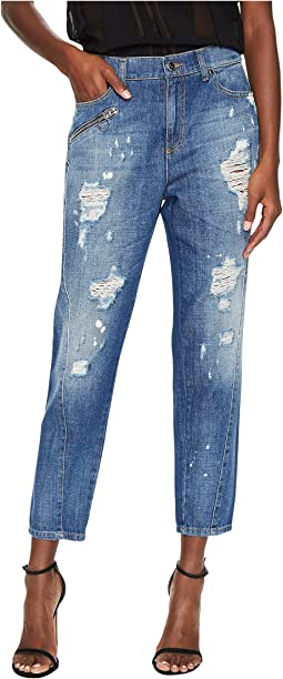 Versace Jeans Distressed Boyfriend Light Wash Jeans