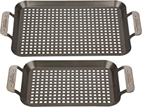 Grill Topper BBQ Grilling Pans (Set of 2) - Non-Stick Barbecue Trays w Stainless Steel Handles for Meat, Vegetables, and S...