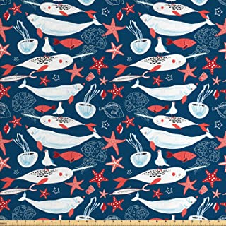 Ambesonne Narwhal Fabric by The Yard, Arctic Ocean Fauna with School of Fish Narwhal and Jellyfish Sketch, Decorative Fabr...