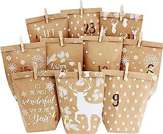 DIY kalendarz adwentowy do wypełnienia - 24 drukowane torebki na prezenty i 24 naklejki z numerami i klipsy - motyw Przytu...