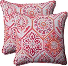 Pillow Perfect Outdoor Summer Breeze Corded Throw Pillow, 18.5-Inch, Flame, Set of 2