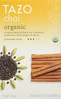 Tazo Organic Chai, Spiced Black Tea, 20-Count Tea Bags (Pack of 6)