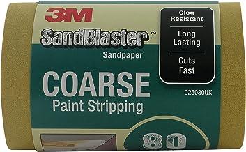 """3M 050080UK SandBlaster sandpappers-/sandpapperrulle för betning, 80 kornig,""""Avlackering"""", grov, 5 m, guldfärgad"""