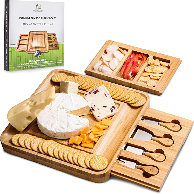Cheese Board And Knife Set Charcuterie Board Premium Cutting Serving Tray With Removable Drawers For Knife Storage 13 X 13 X 1 4 Perfect Gift Idea