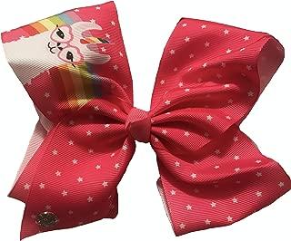 JoJo Siwa Girls Large Cheer Hair Bow - Pink Llama Rainbow w/Stars