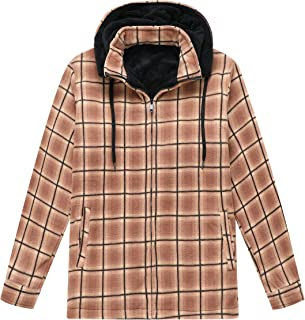Men's Sherpa Lined Fleece Flannel Plaid Shirt Jacket with Removable Hood