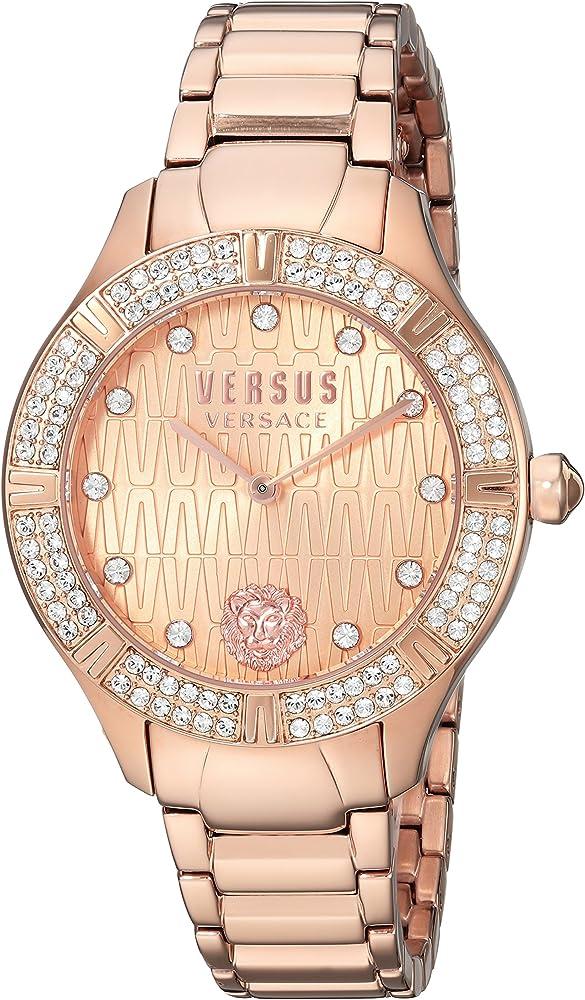 Versus versace, orologio da donna,cassa in acciaio con placcatura oro rosa, lunetta con cristalli swarovski S26060017