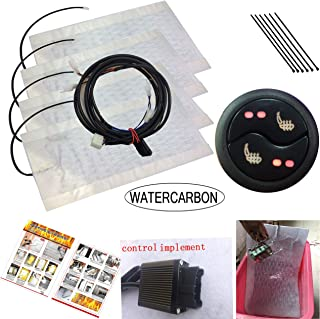 WATERCARBONwaterproof Carbon Fiber Seat Heater Kit Hi/Lo Setting 3 Years USA Warranty 2 Seats and Hog Rings Pliers (Waterproof Circular Tai Chi Type High-Grade and Low-Grade Heating Switch)