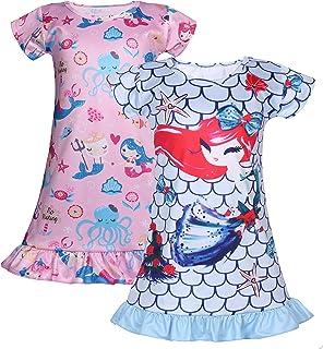 فستان كاجوال Coralup للفتيات الصغيرات قطعتين من فساتين نوم حورية البحر/وحيد القرن/جنية