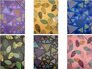 Lot de 6 chemises en carton avec élastique multicolore Format A4