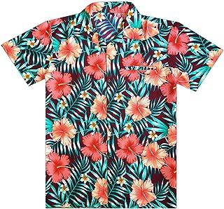 Virgin Crafts Men's Hawaiian Shirt Short Sleeve Button Down Hibiscus Beach Party