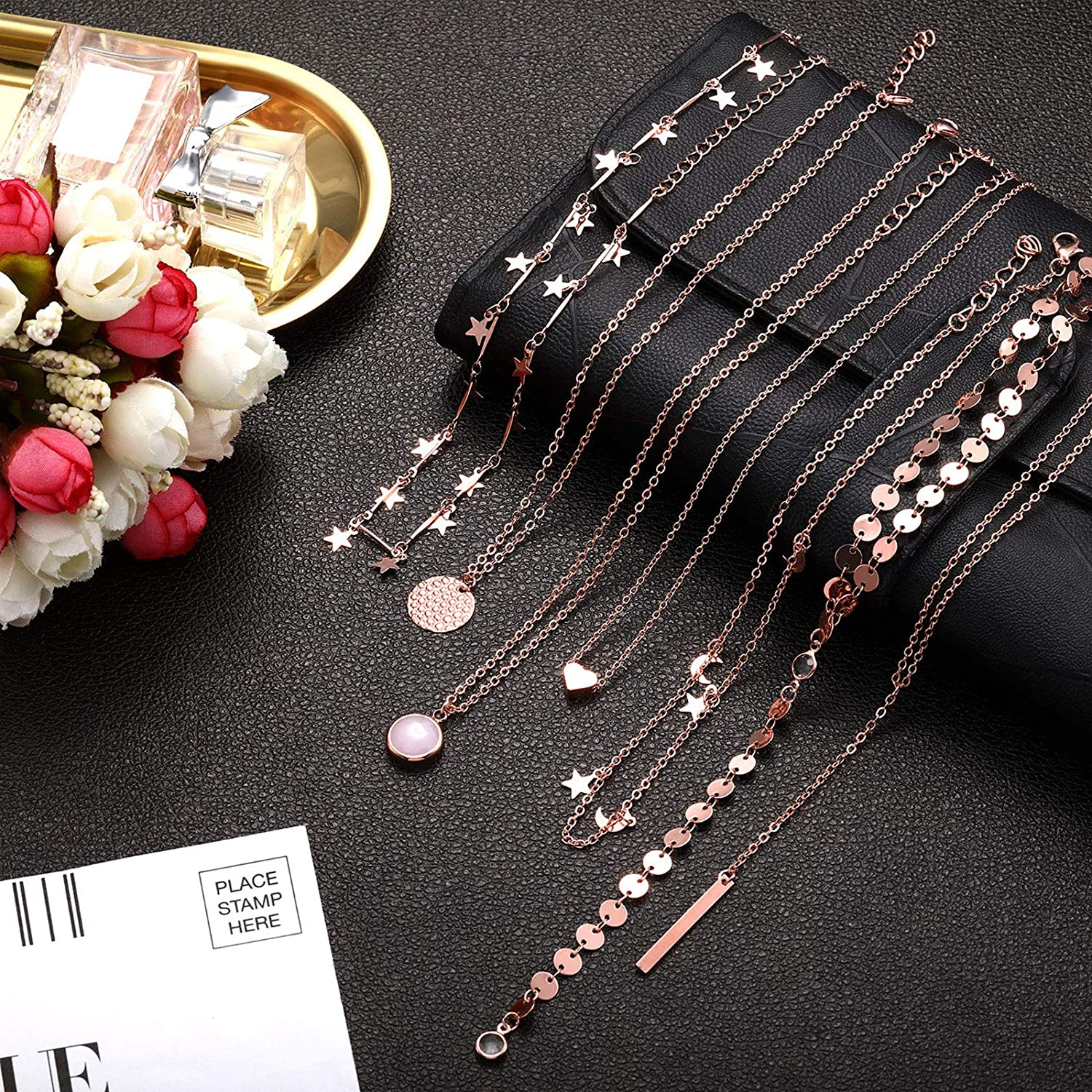 16 Pieces Layered Choker Necklace Adjustable Pendant Necklace Moon Sequins Choker Multilayer Chain Necklace Set for Women Girls