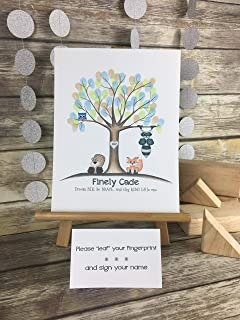 Customizable woodland fingerprint tree guestbook featuring a blue owl, fox, beaver, and raccoon