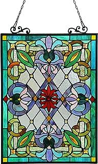 Chloe Lighting IZZY Tiffany-Glass Victorian Window Panel 18x25