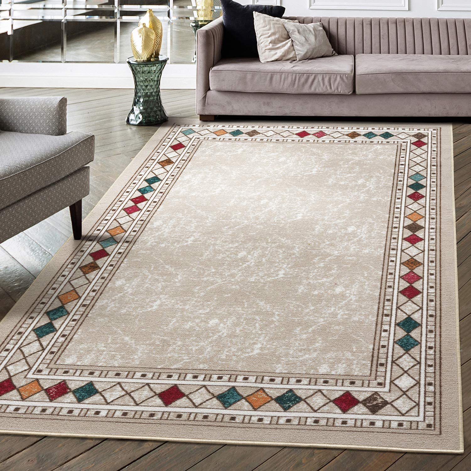 Antep Rugs Alfombras Modern Bordered 5x7 Non-Skid (Non-Slip) Low Profile Pile Rubber Backing Indoor Area Rugs (Beige, 5' x 7')