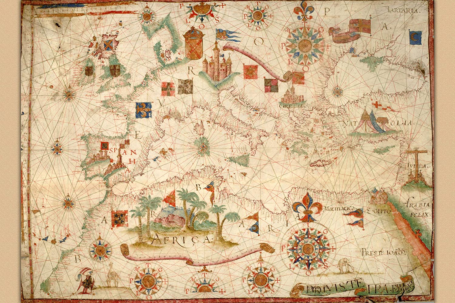 History Prints The Portolan Chart Of Mediterranean Europe British Isles Part Of Scandinavia 16 X 24 Inches Posters Prints