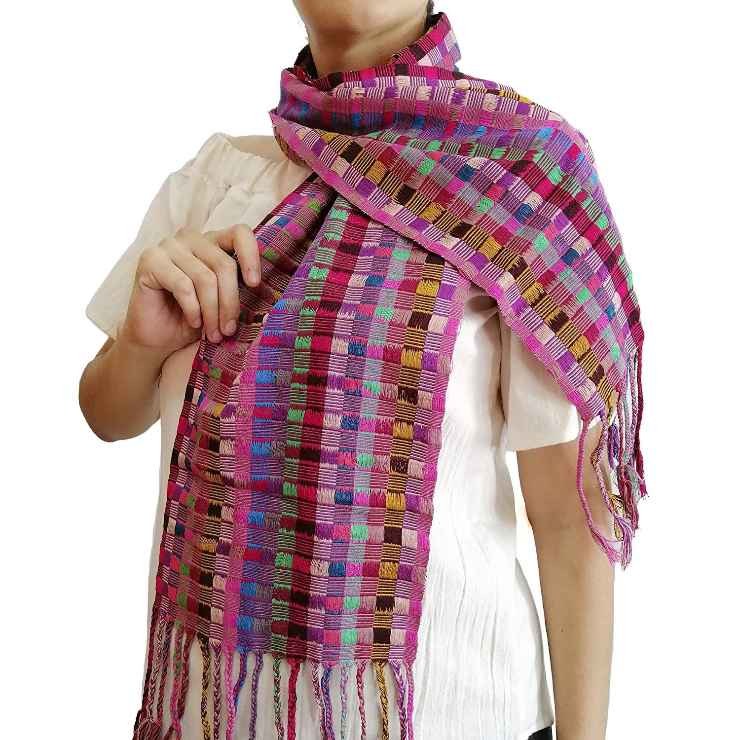 Mexican Handmade Cotton Scarf Very popular Knitted Loom Dallas Mall Traditional Waist in