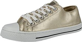 109a98ec05582 Urban Jacks Ladies Girls Baltimore Metallic Canvas Lace Up Low Top White  Toe Cap All Star