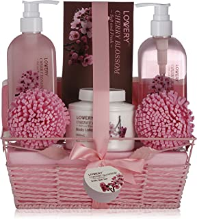 Spa Gift Basket in Cherry Blossom Scent - 8 Piece Luxury Bath Set for Women & Men, Includes Shower Gel, Bubble Bath, Salts, Lotion & More! Great B-Day, Wedding, Anniversary & Graduation Gift for Women