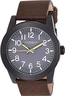 Akribos XXIV Men's Grey Dial Canvas Over Leather Band Watch - AK779BKBR