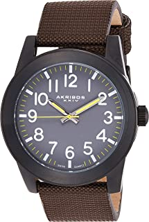 Akribos XXIV Men's Grey Dial Canvas Over Leather Band Watch - AK779BKBR