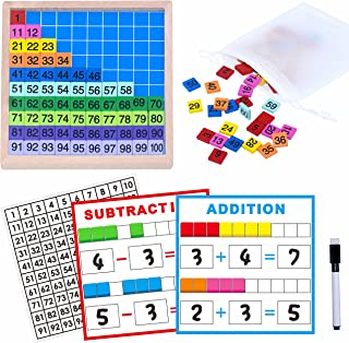 SpriteGru Wooden Math Learning Board Toy, Math Cubes 1-100 Consecutive Numbers, Linking Cube Math Counters for Kids Kinder...