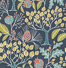 NuWallpaper NU3038 Groovy Garden Navy Peel & Stick Wallpaper