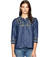 Long Sleeve Embroidered Dolman Sleeve Top