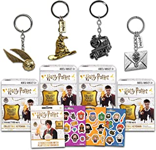 Wizard World Harry Potter Mystery Pack Keychain Set ~ 4 Pack Bundle Blind Box Keychains with Over 100 Harry Potter Sticker...