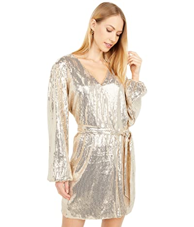 WAYF Sequin Wrap Dress (Silver) Women