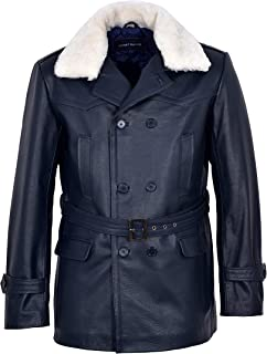 German Pea Navy Shearling Collar Coat Men Classic Reefer Military Hide Leather Jacket DR-Who